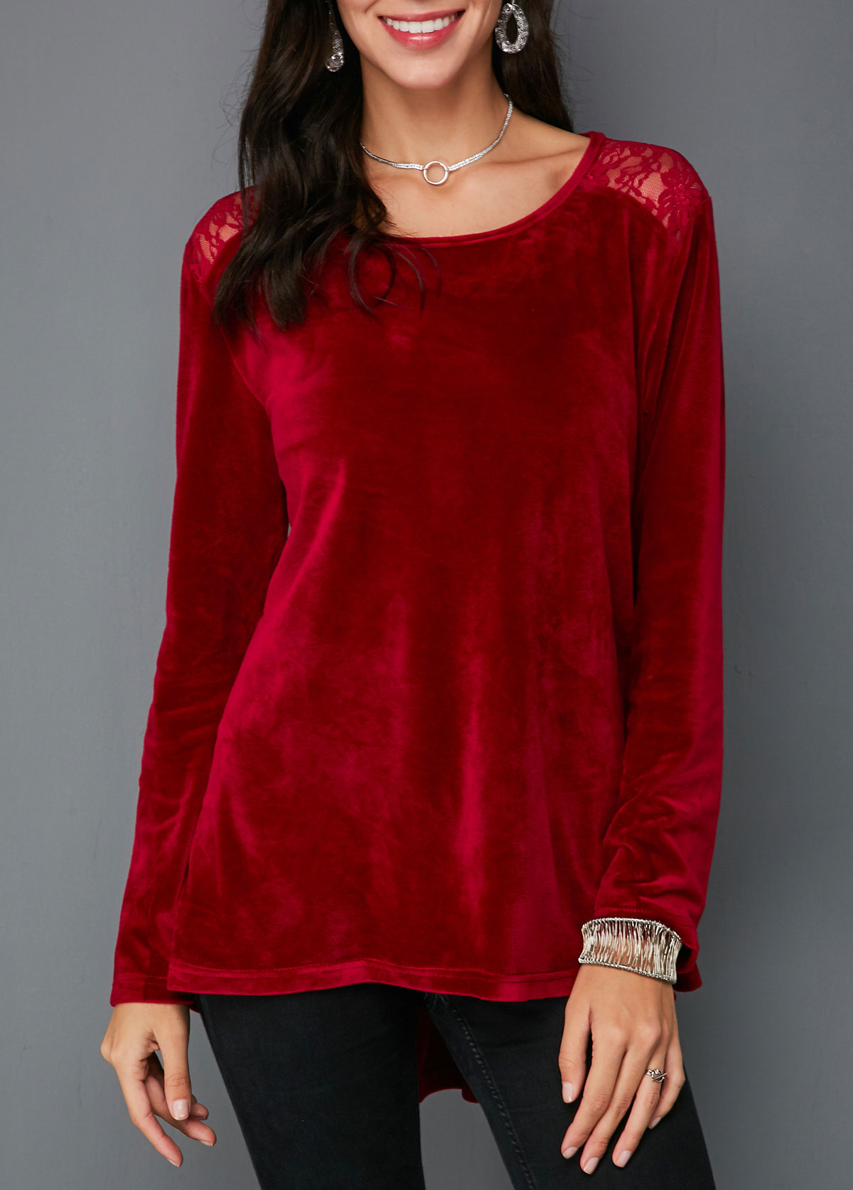 ROTITA Dip Hem Lace Panel Wine Red Velvet Blouse