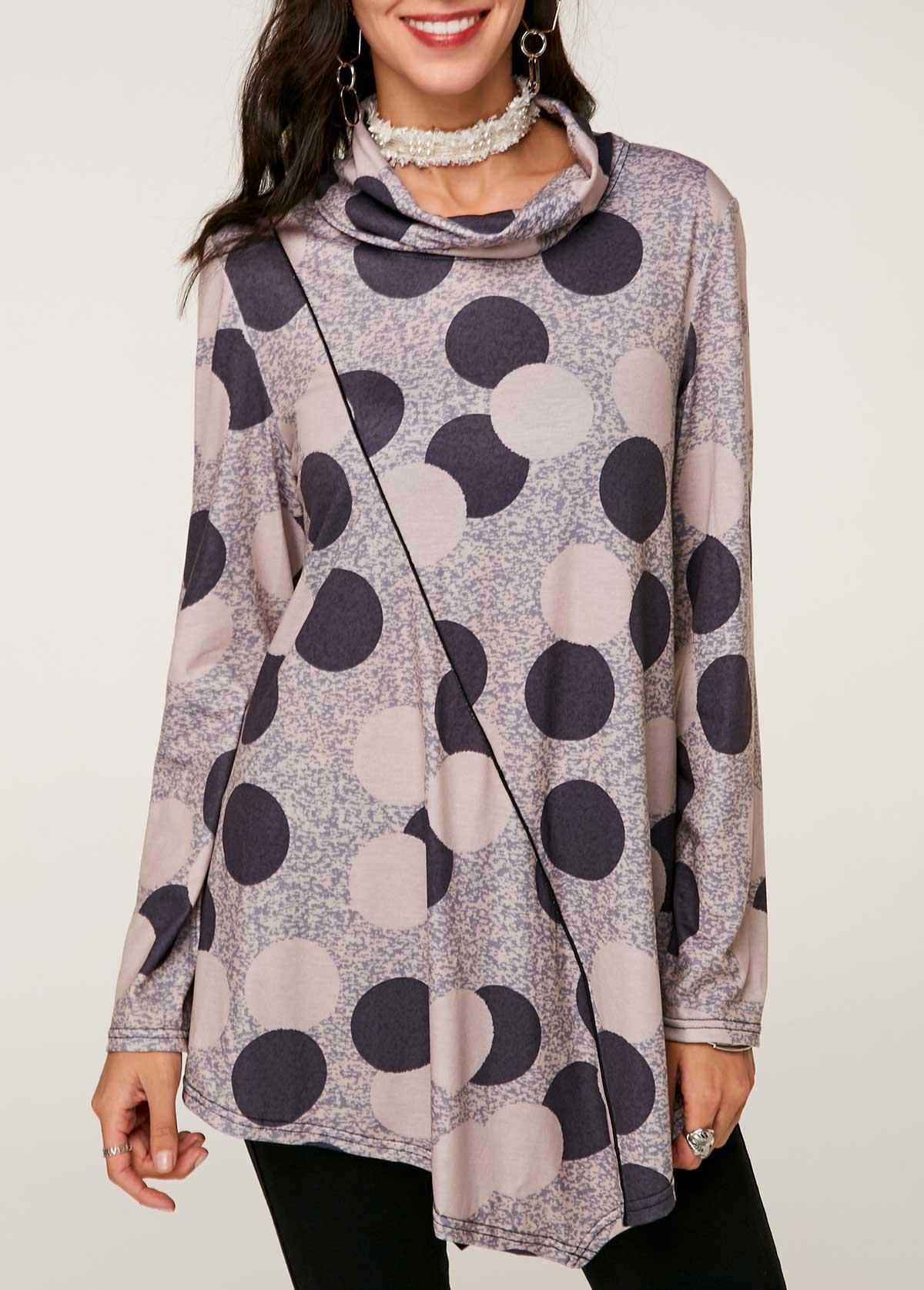 Printed Cowl Neck Asymmetric Hem T Shirt