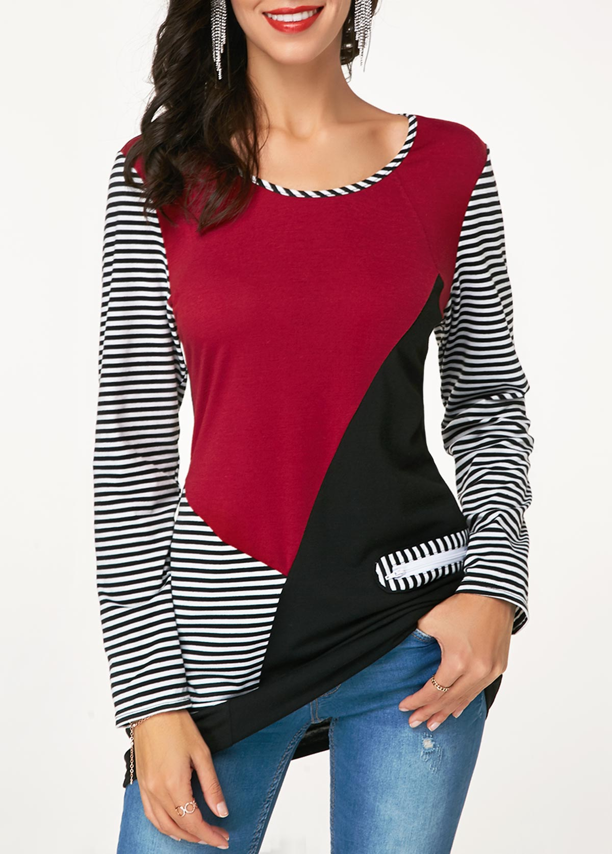 Color Block Long Sleeve Striped T Shirt