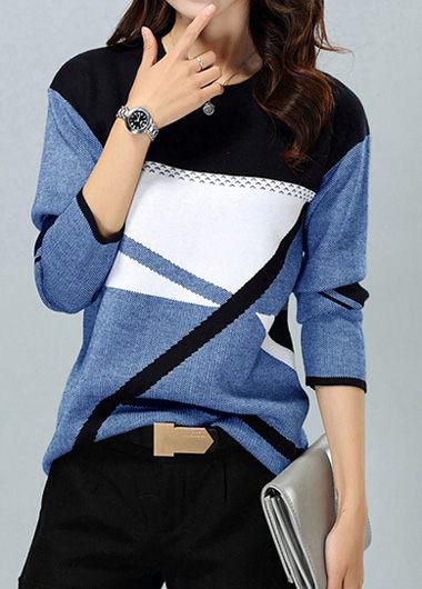 ROTITA Long Sleeve Geometric Pattern Round Neck Blue Sweater