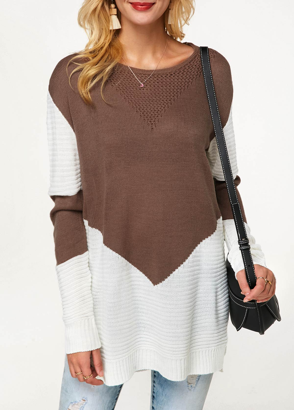ROTITA Color Block Long Sleeve Side Slit Sweater