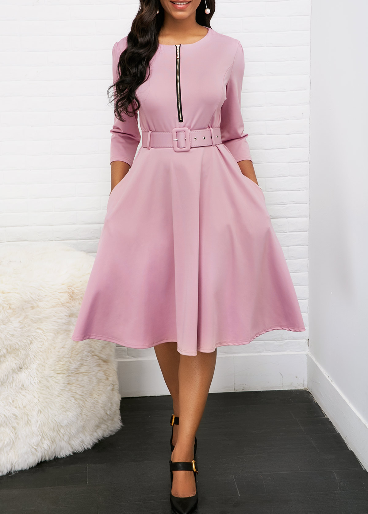 Round Neck Zipper Front Belted Pleated Dress