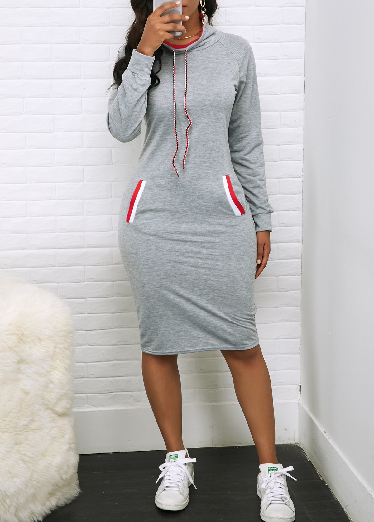 ROTITA Drawstring Neck Long Sleeve Pocket Dress