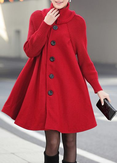Long Sleeve Button Front Red Coat