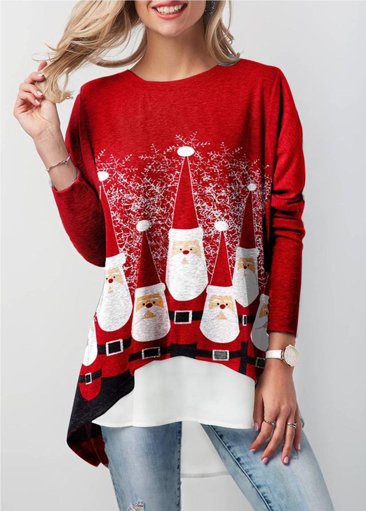 Christmas Faux Two Piece T Shirt