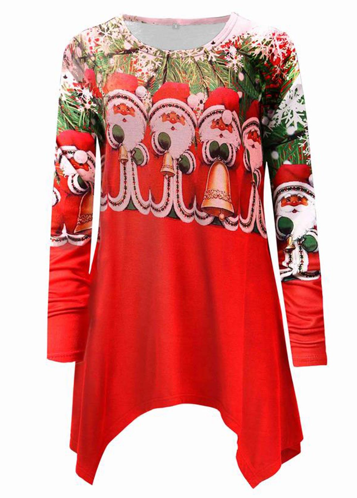 Christmas Asymmetric Hem Long Sleeve T Shirt