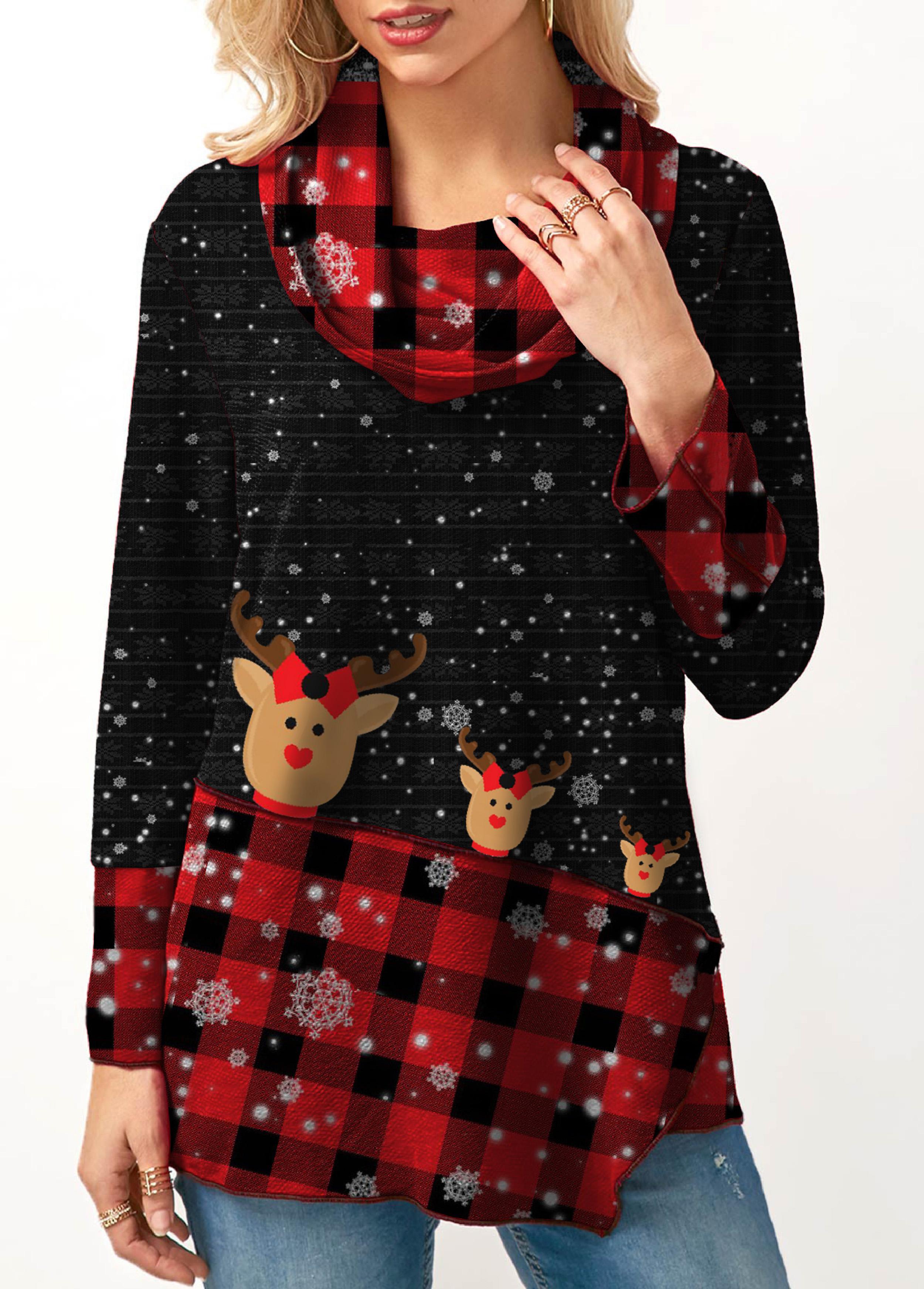 Plaid Print Cowl Neck Long Sleeve Christmas Sweatshirt