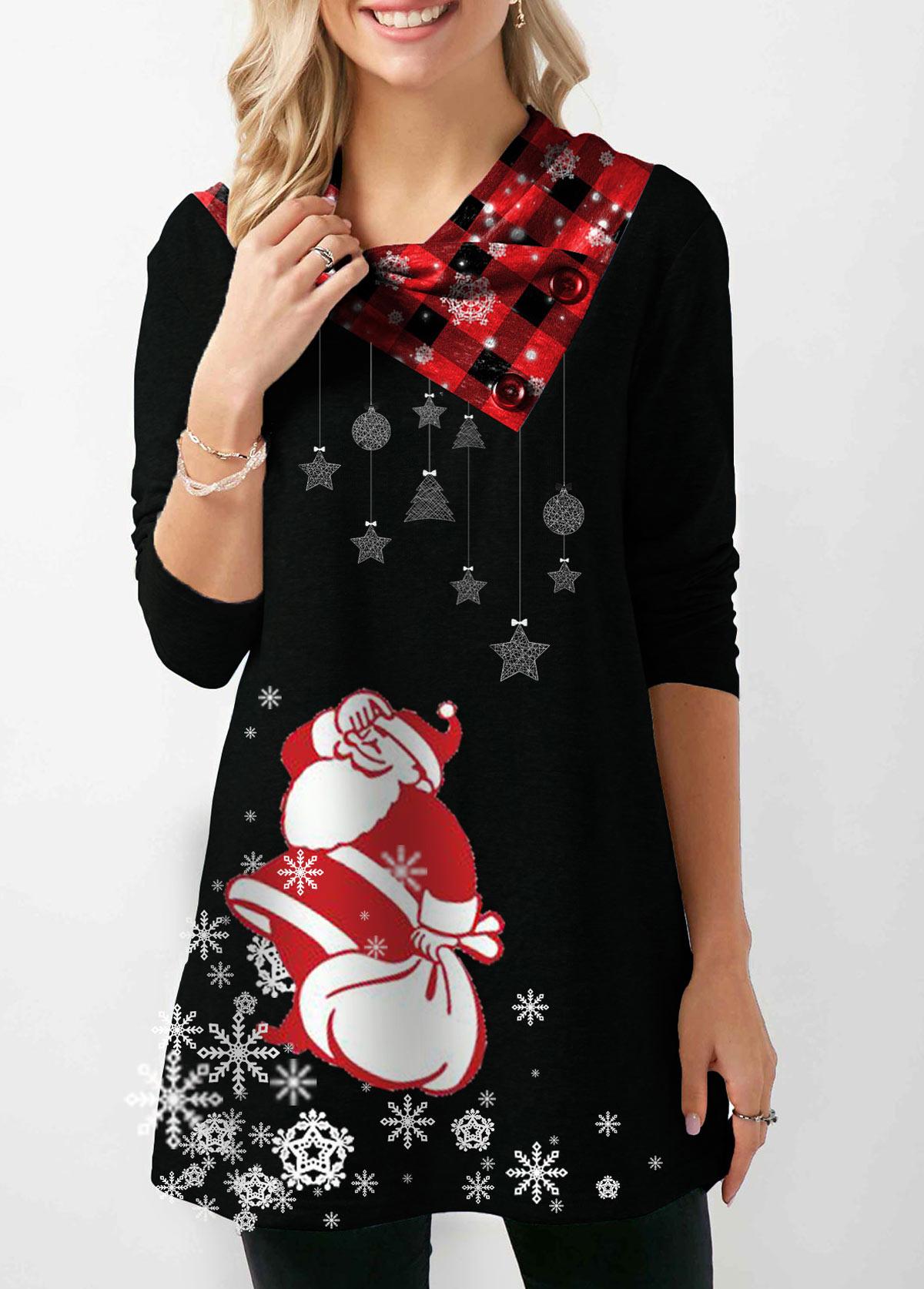 Long Sleeve Santa Print Button Embellished Christmas Sweatshirt