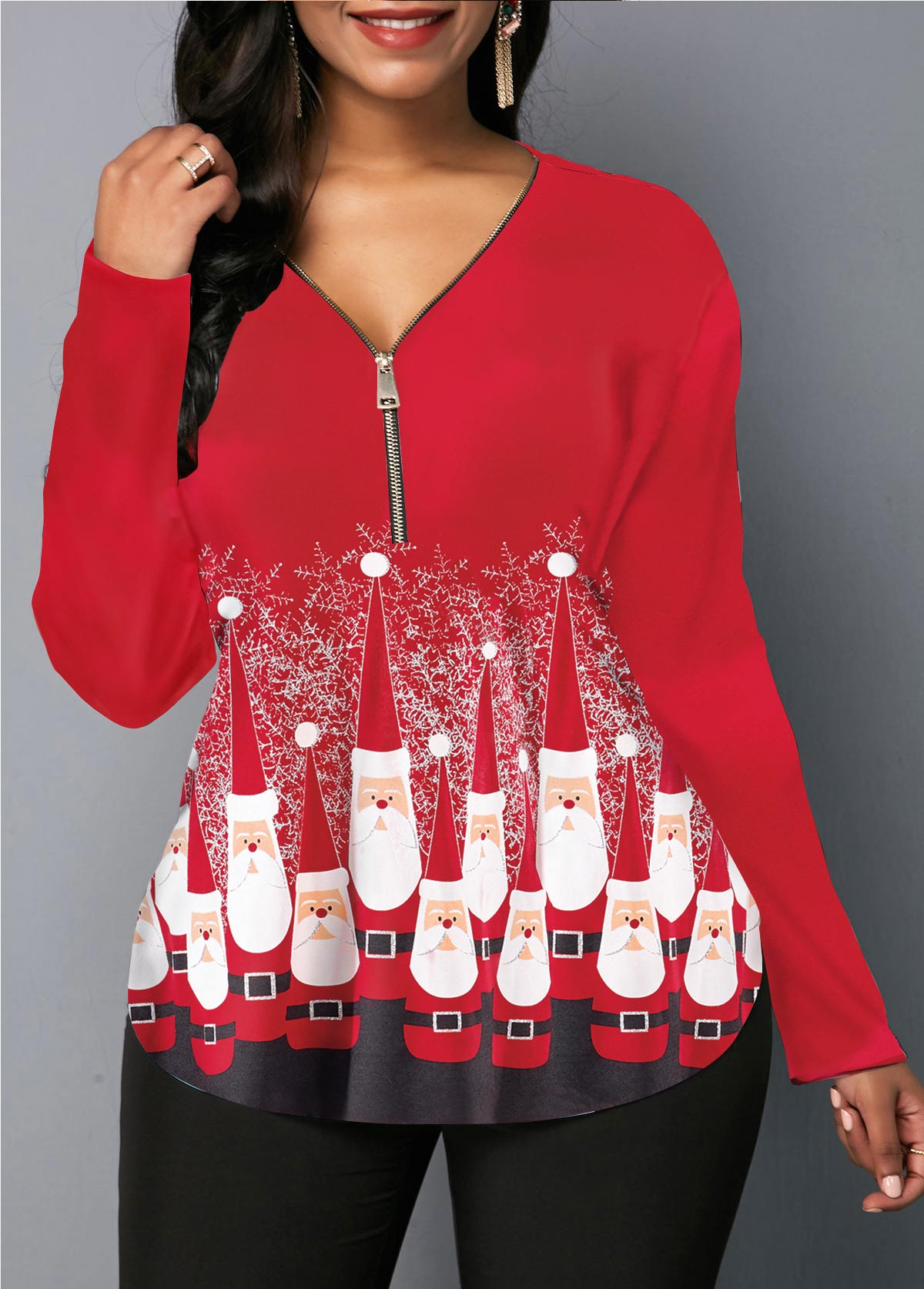 Santa Print Zipper Front Red Christmas Blouse