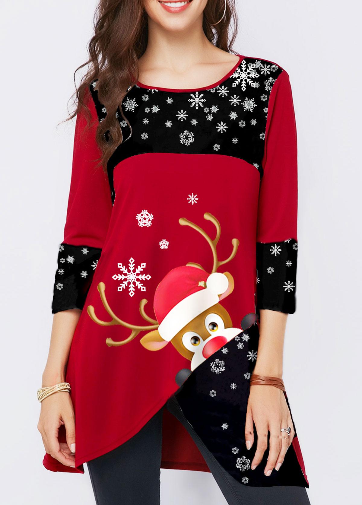 Asymmetric Hem Elk Print Christmas T Shirt