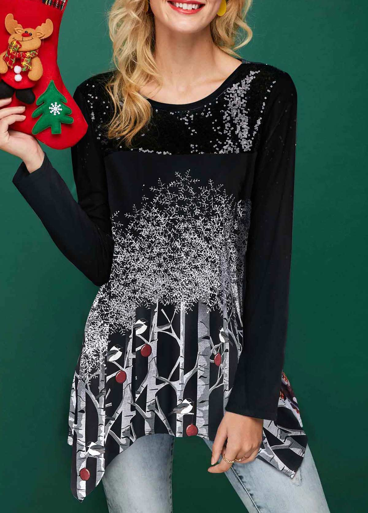 ROTITA Asymmetric Hem Sequin Embellished Tree Print Christmas T Shirt
