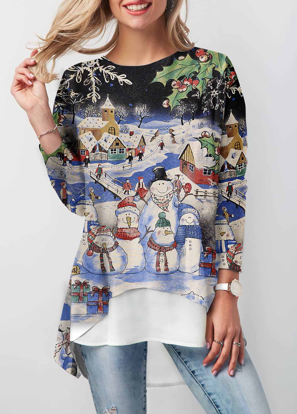 Dip Hem Christmas Print Long Sleeve T Shirt