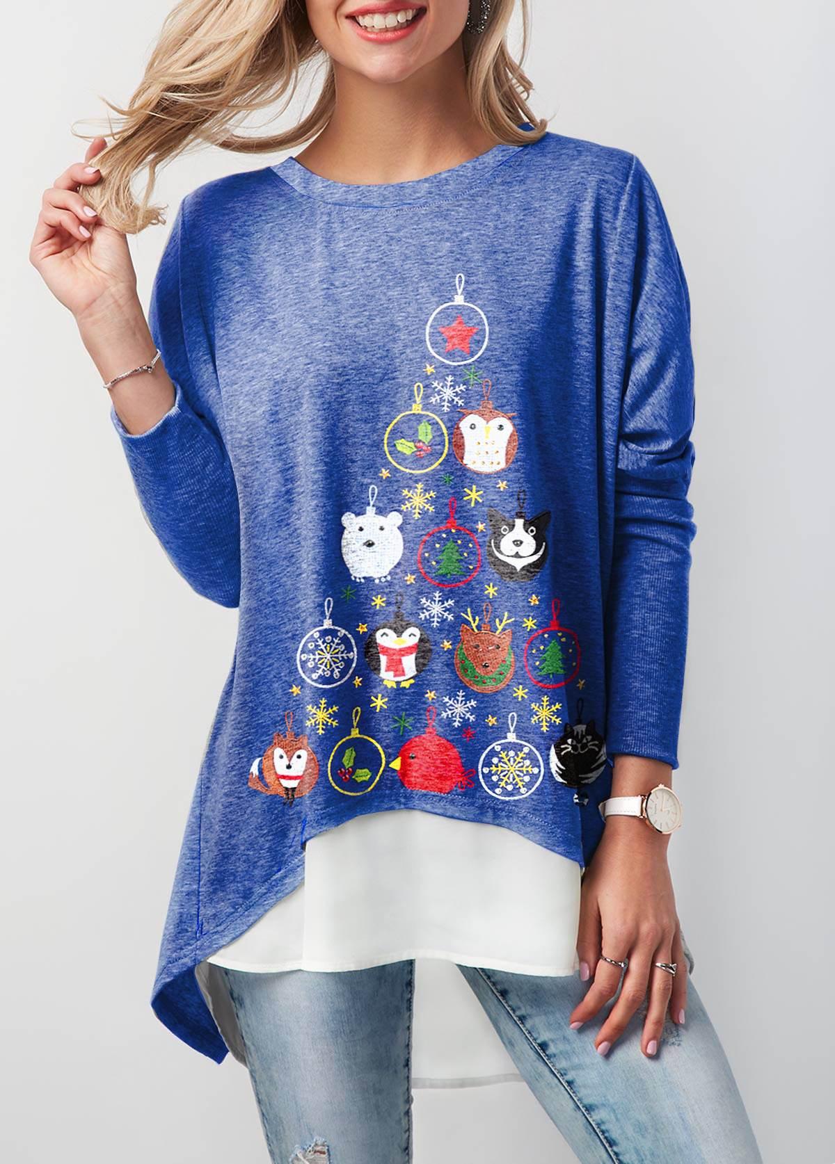 Button Back Animal Print Blue Christmas T Shirt