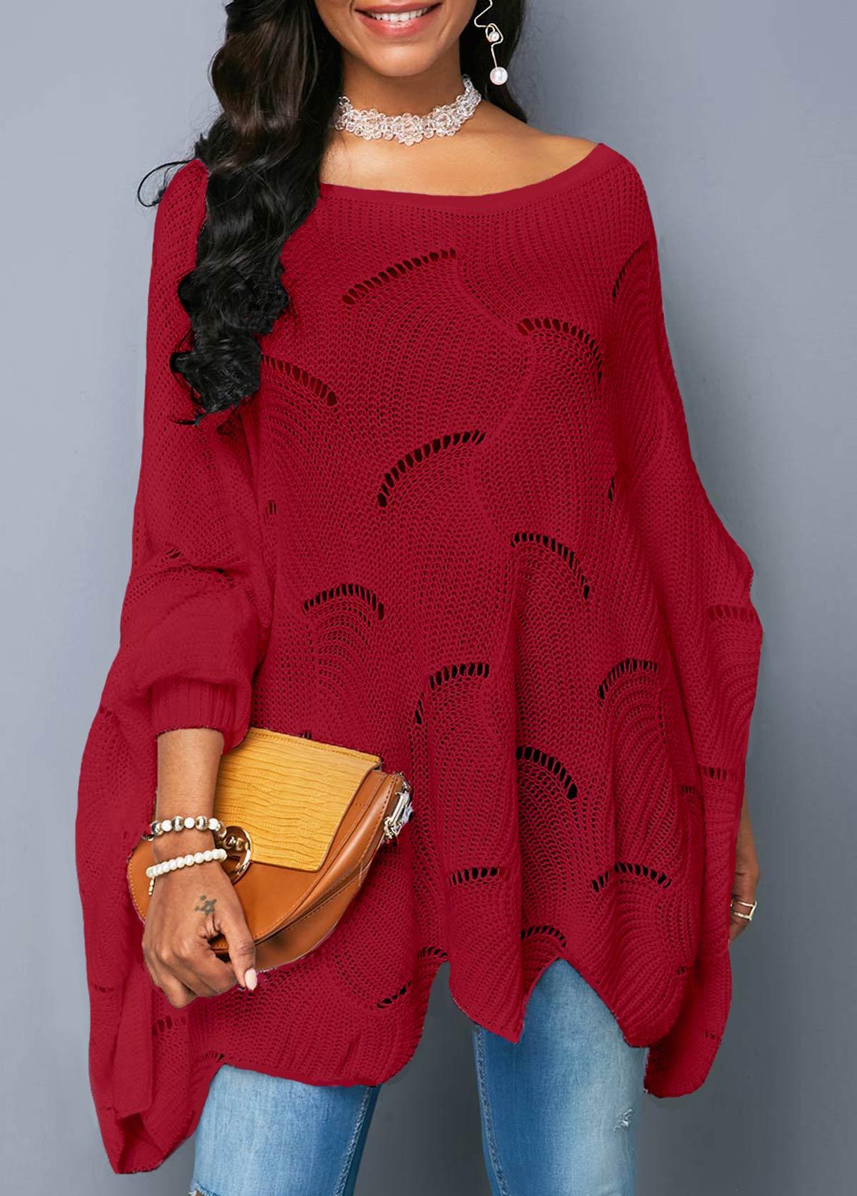 Asymmetric Hem Open Knit Wine Red Sweater