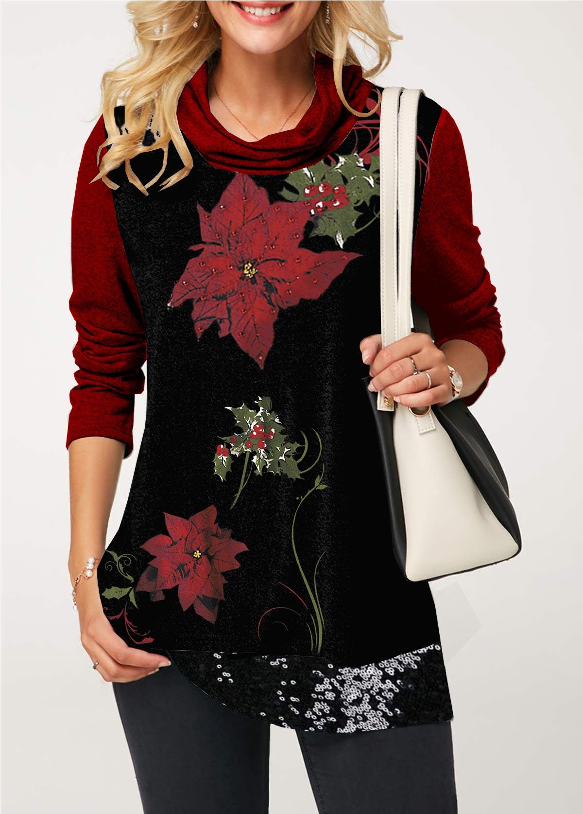 ROTITA Flower Print Sequin Embellished Cowl Neck T Shirt