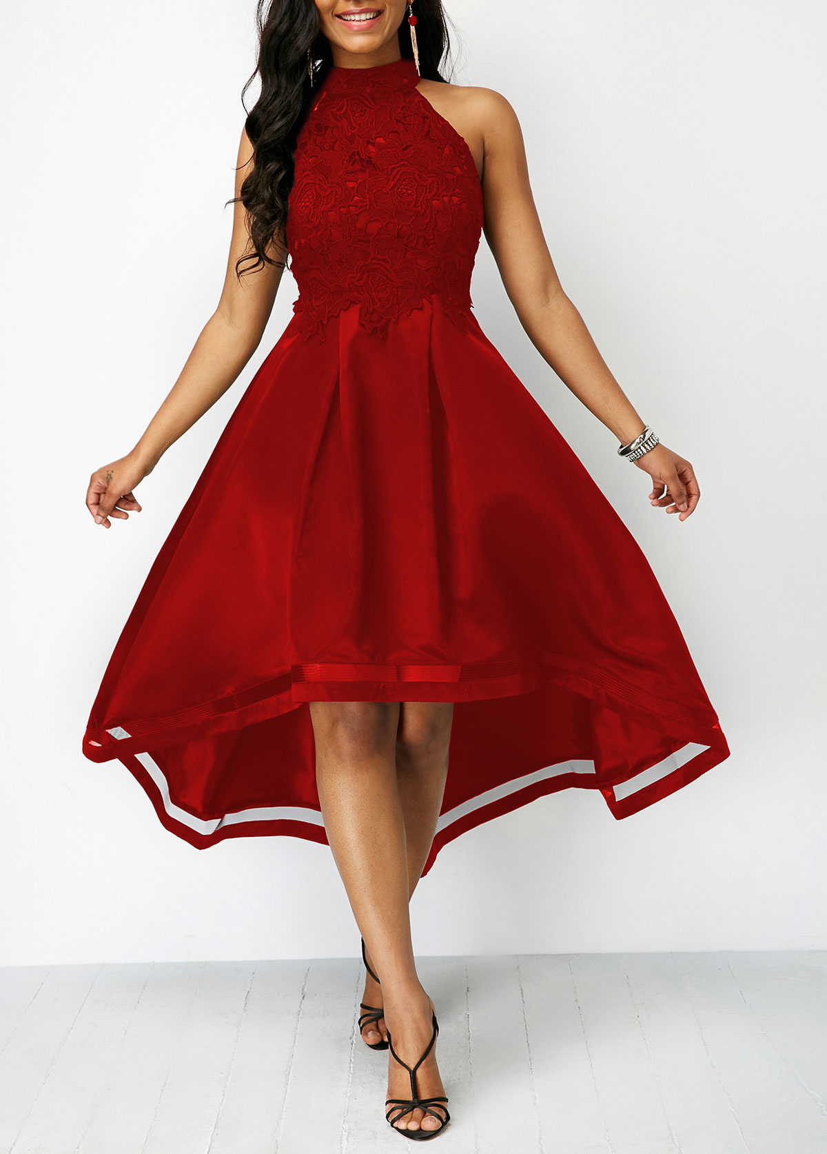Sleeveless Lace Panel Wine Red High Low Dress