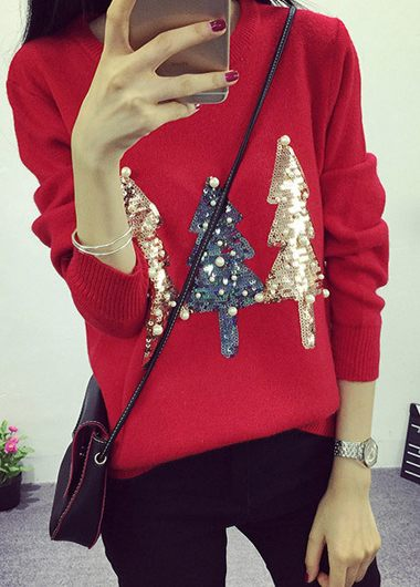 Christmas Tree Pattern Round Neck Red Sweater