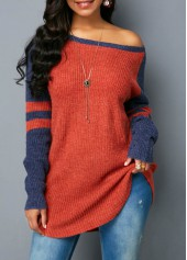 Long Sleeve Scoop Neck Striped Sweater