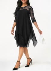 wholesale Three Quarter Sleeve Chiffon Overlay Black Lace Dress