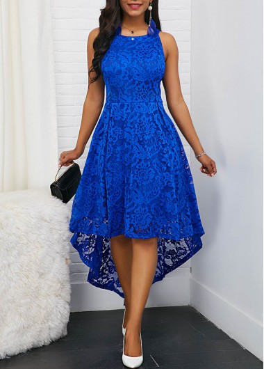 2277eaf646c -59%. Quick Shop. Added Successfully. Sleeveless Royal Blue Round Neck High  Low Lace Dress