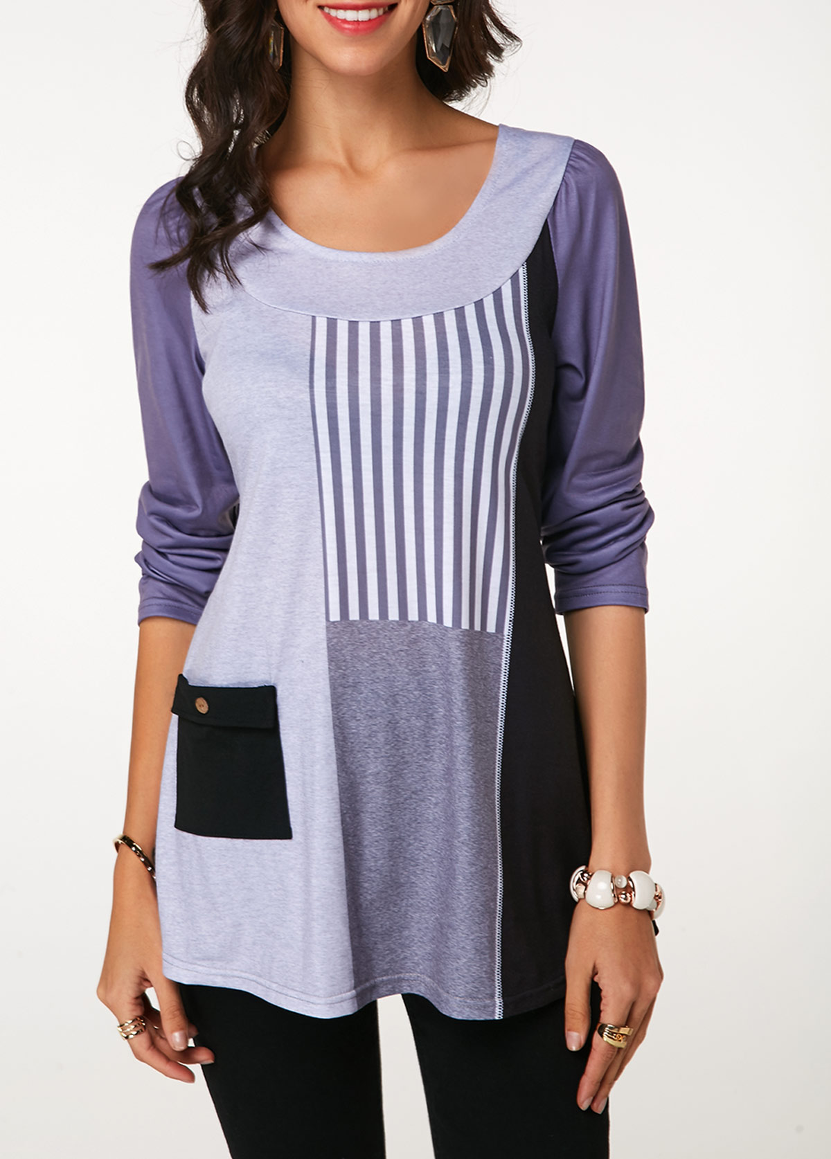 Color Block Long Sleeve Tunic T Shirt
