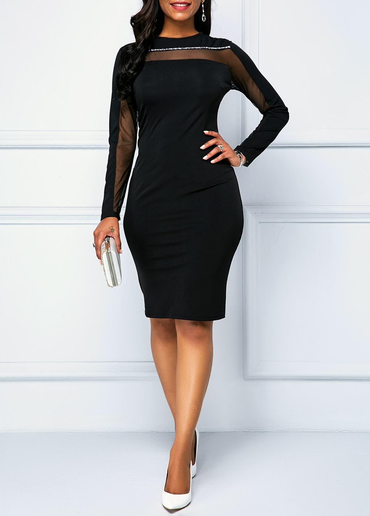 Black Zipper Back Long Sleeve Sheath Dress