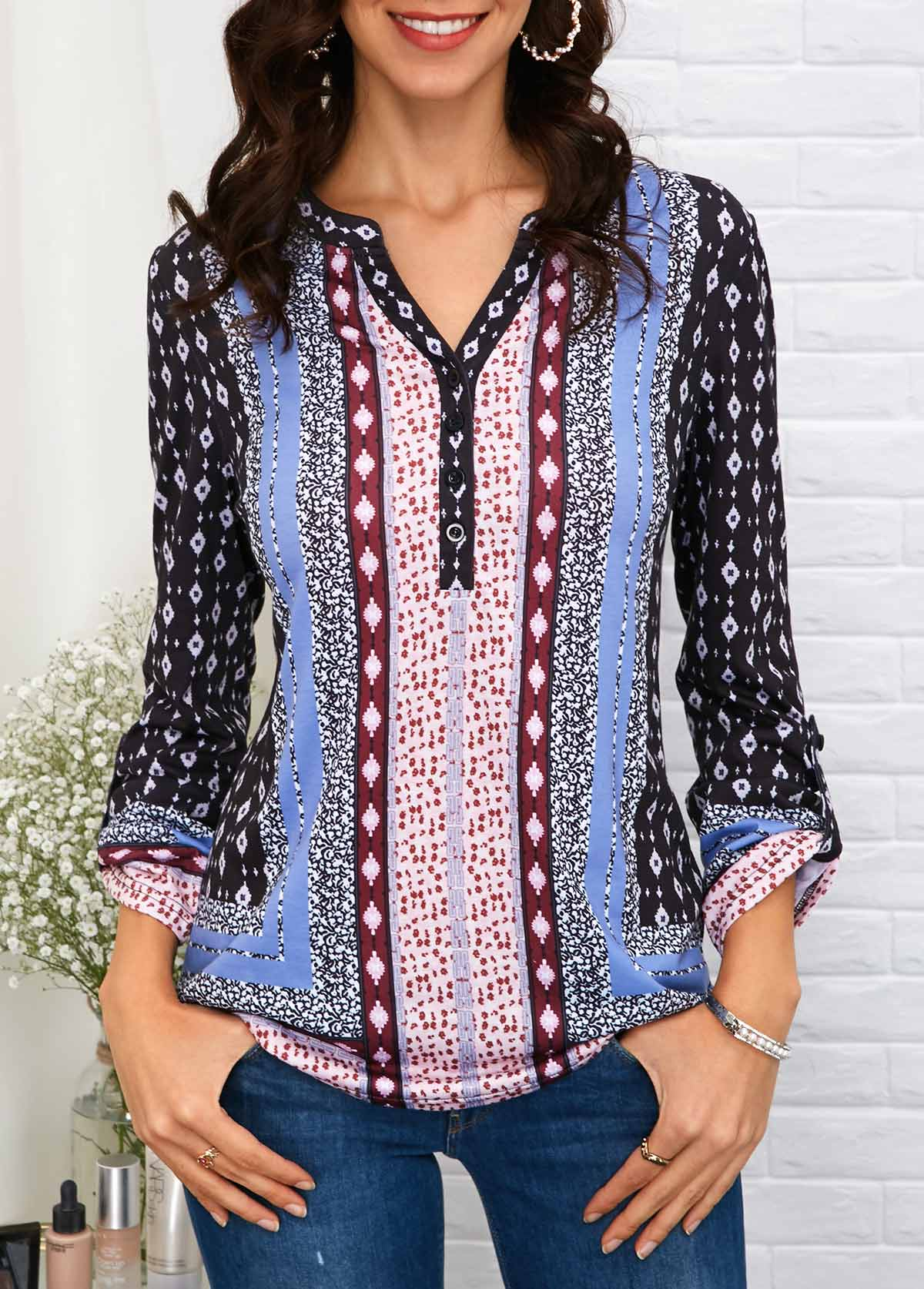 Button Front Roll Tab Sleeve Printed Blouse