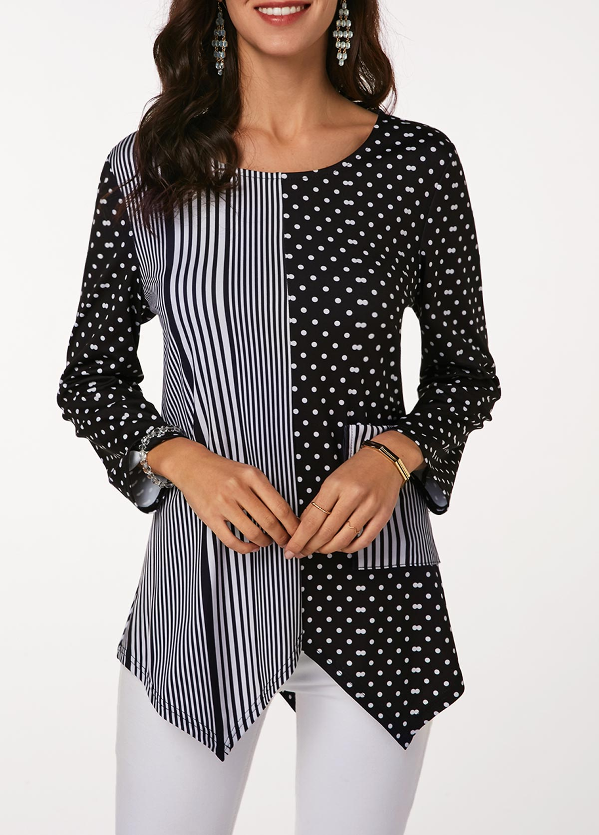 Long Sleeve Asymmetric Hem Striped Blouse