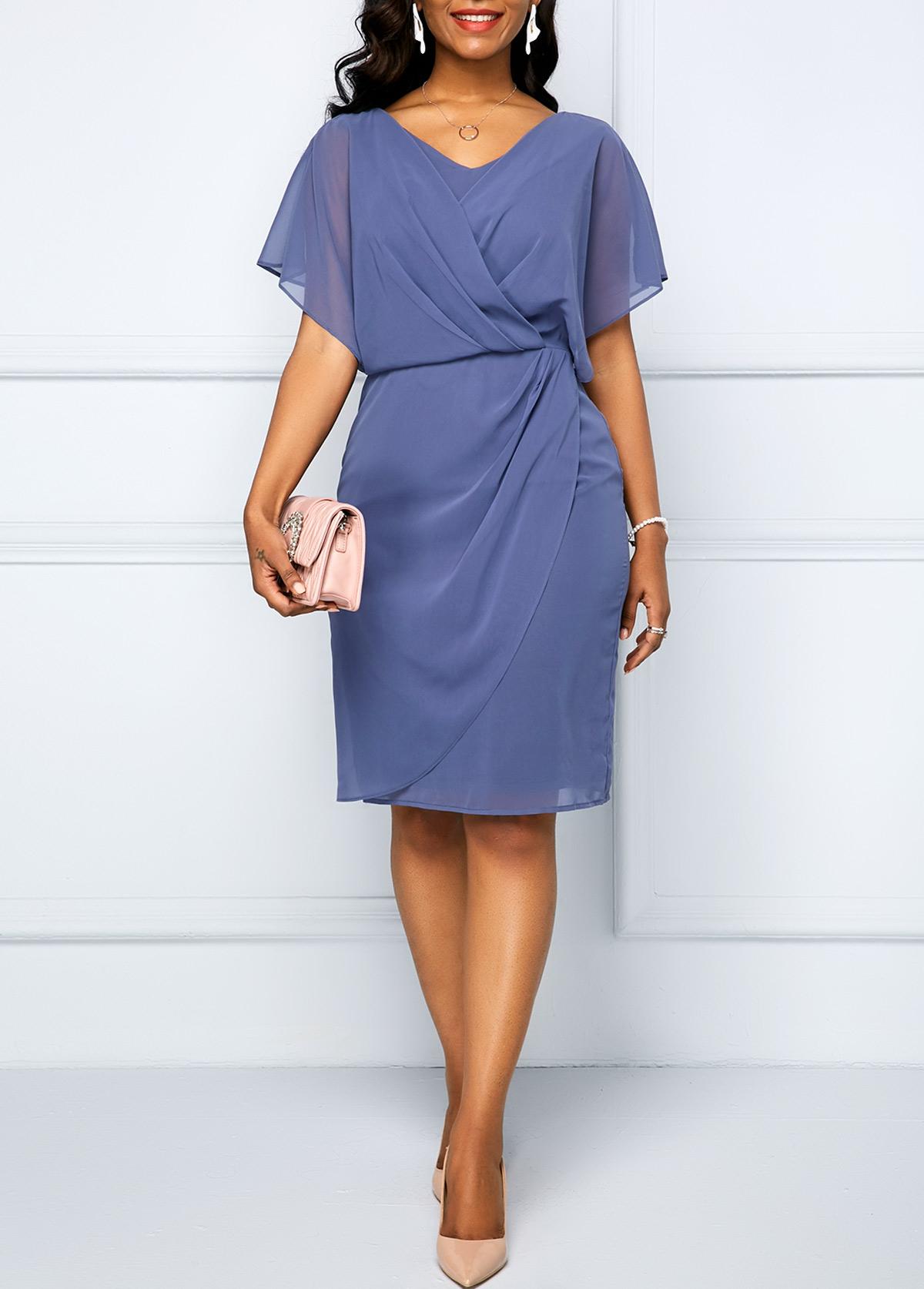 Dusty Blue Cape Shoulder Draped Surplice Chiffon Dress