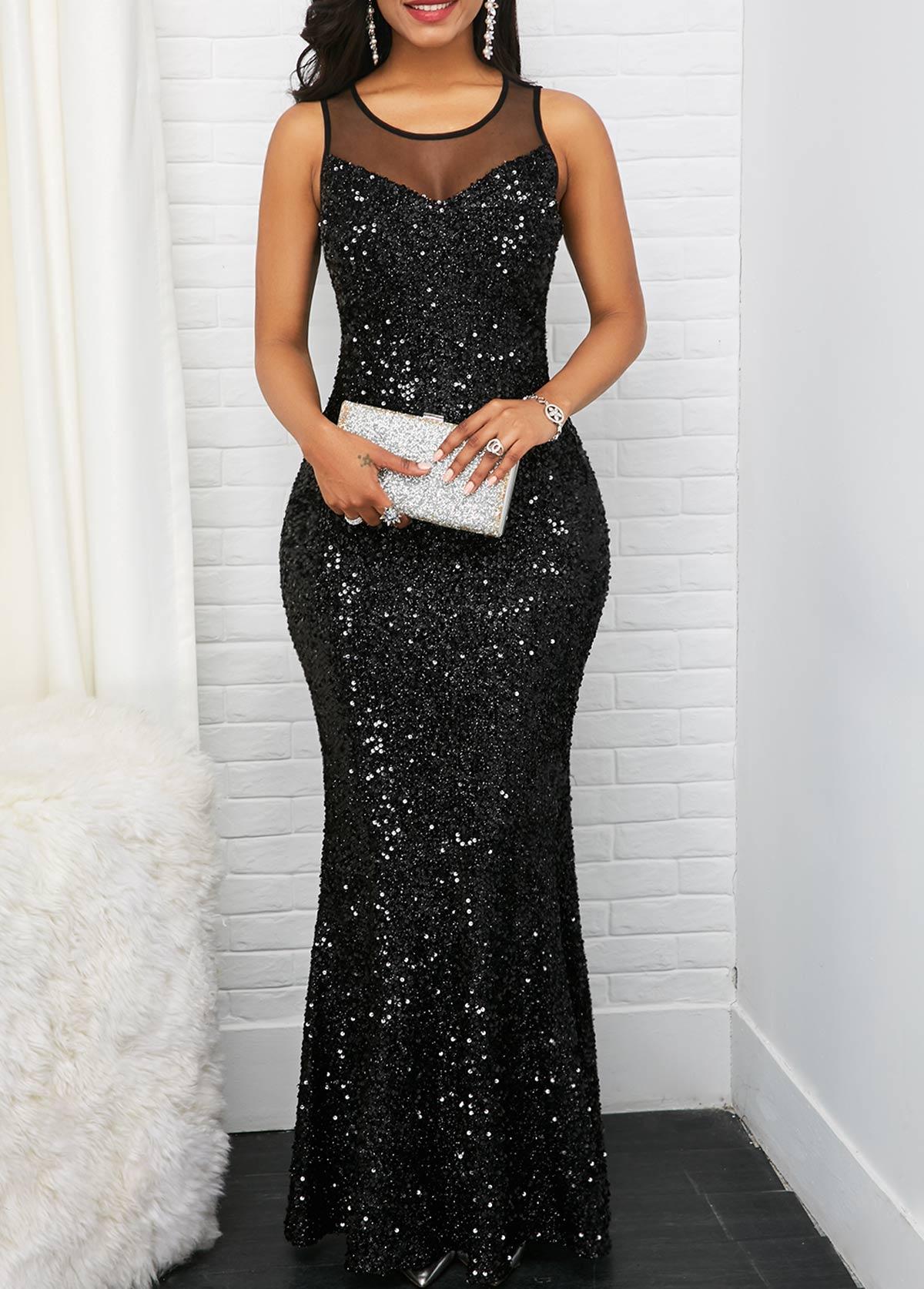Sleeveless Black Mesh Panel Sequin Maxi Dress