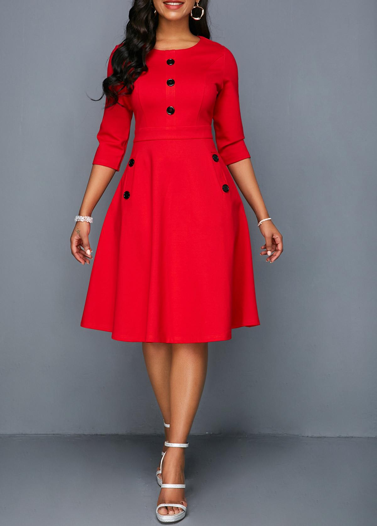 Button Embellished Red Pocket A Line Dress