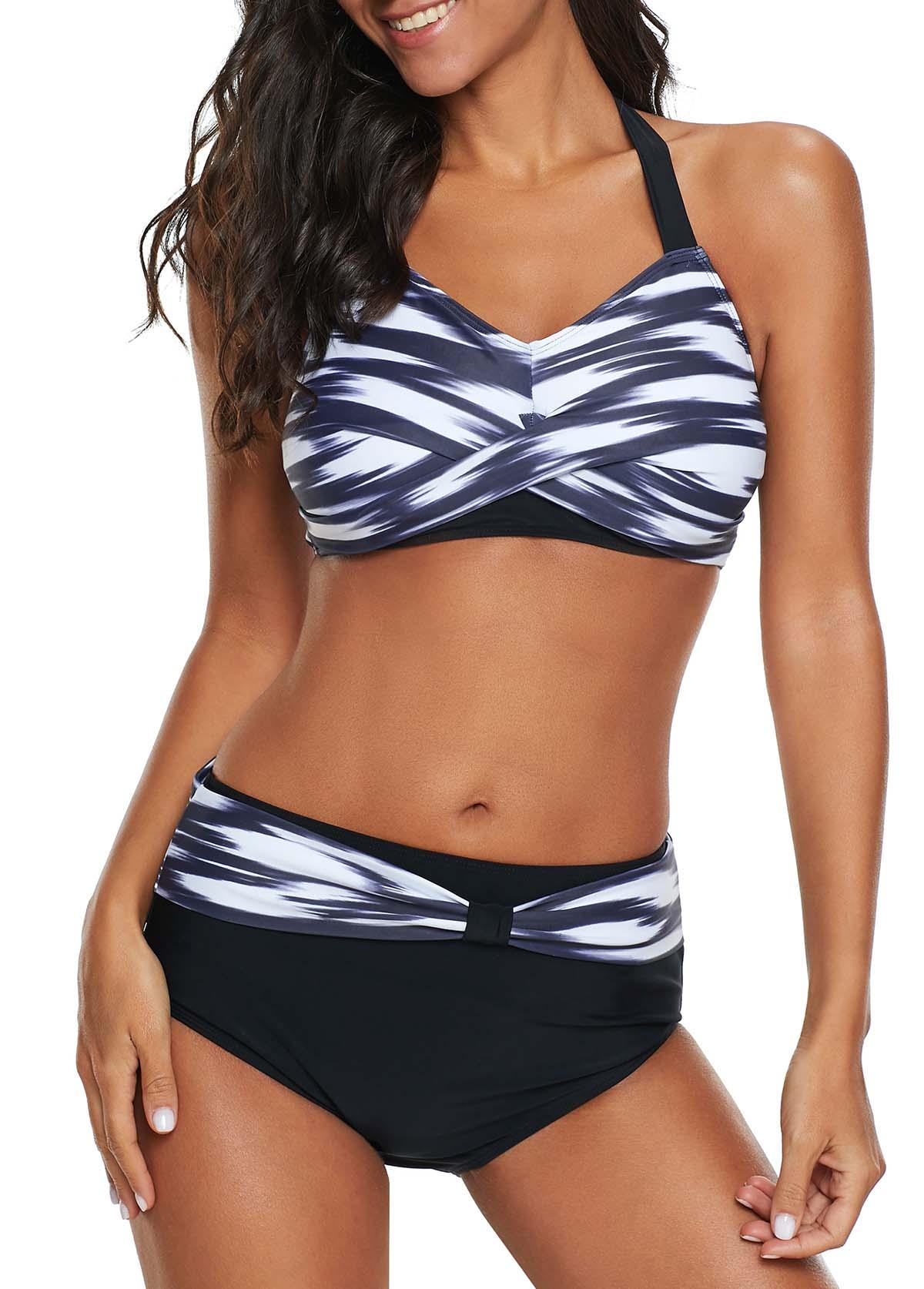 ROTITA Printed Halter Neck Twist Front Bikini Set