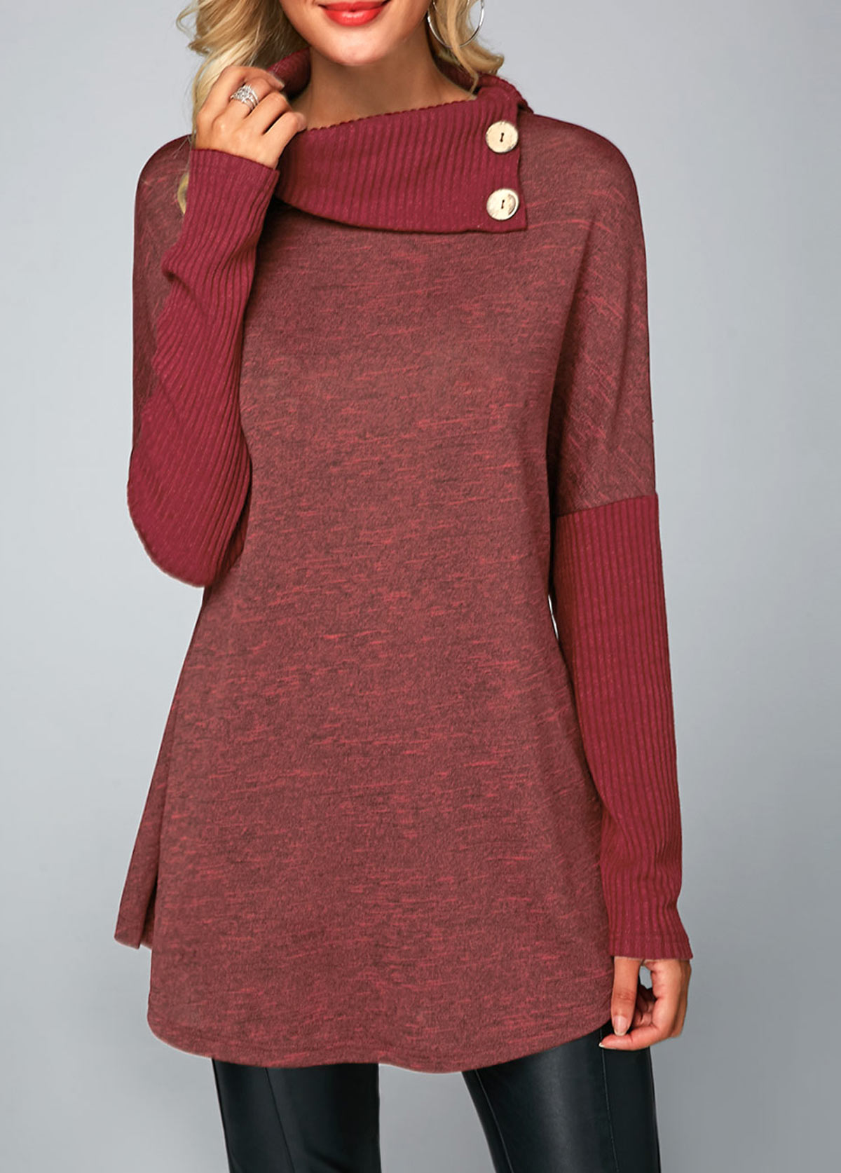 Button Detail Long Sleeve Ribbed T Shirt
