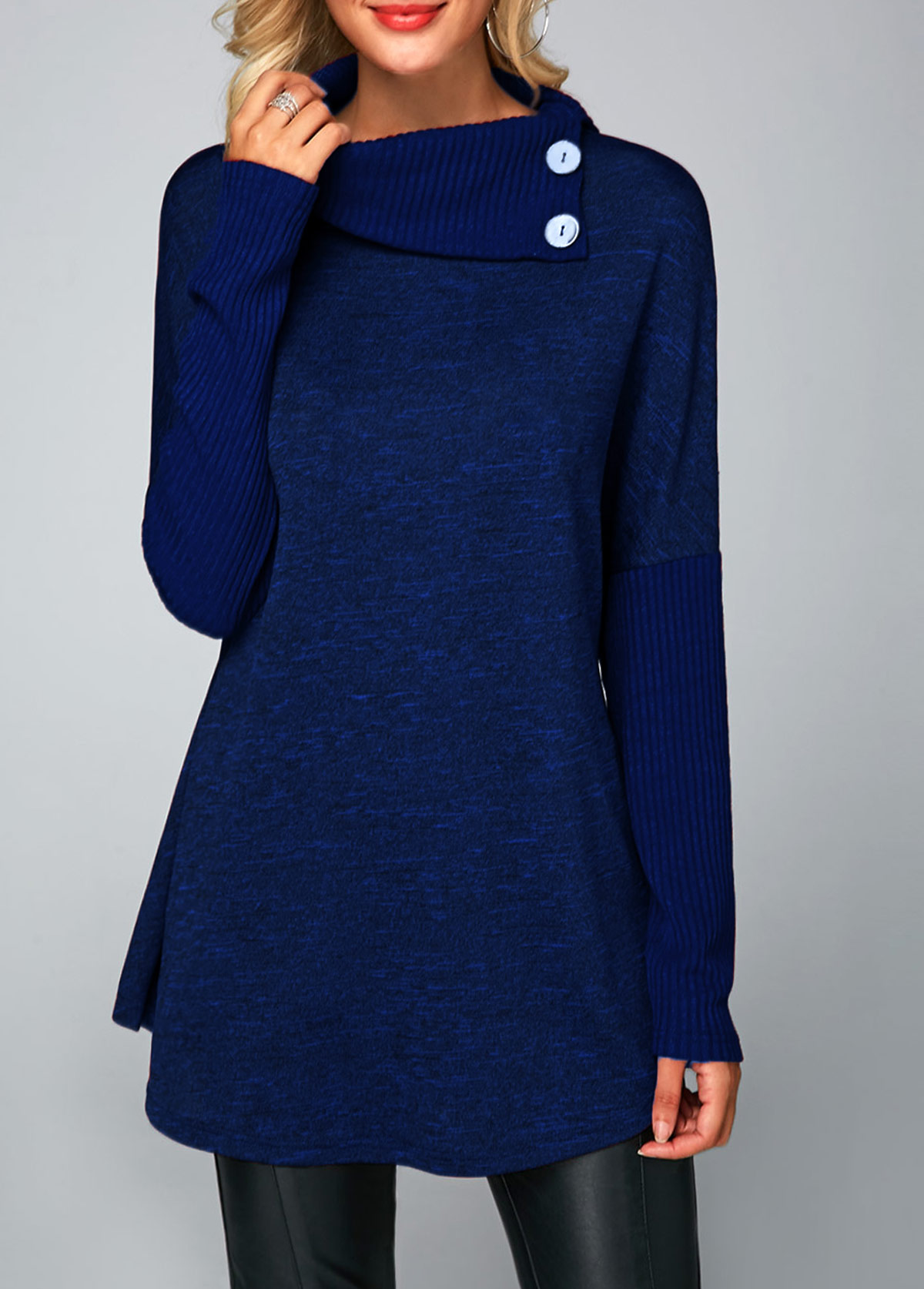 Long Sleeve Button Detail Royal Blue Tunic T Shirt