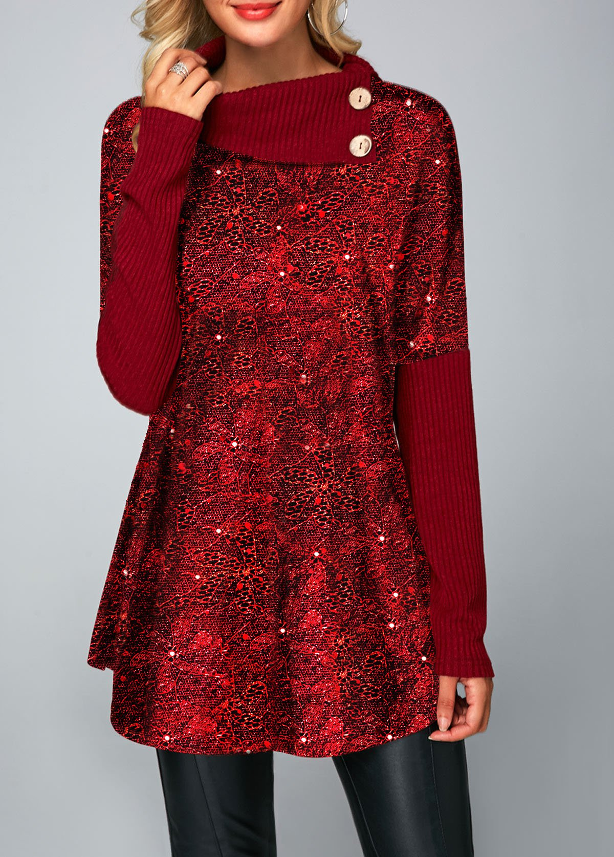 Sequin Embellished Wine Red Button Detail T Shirt