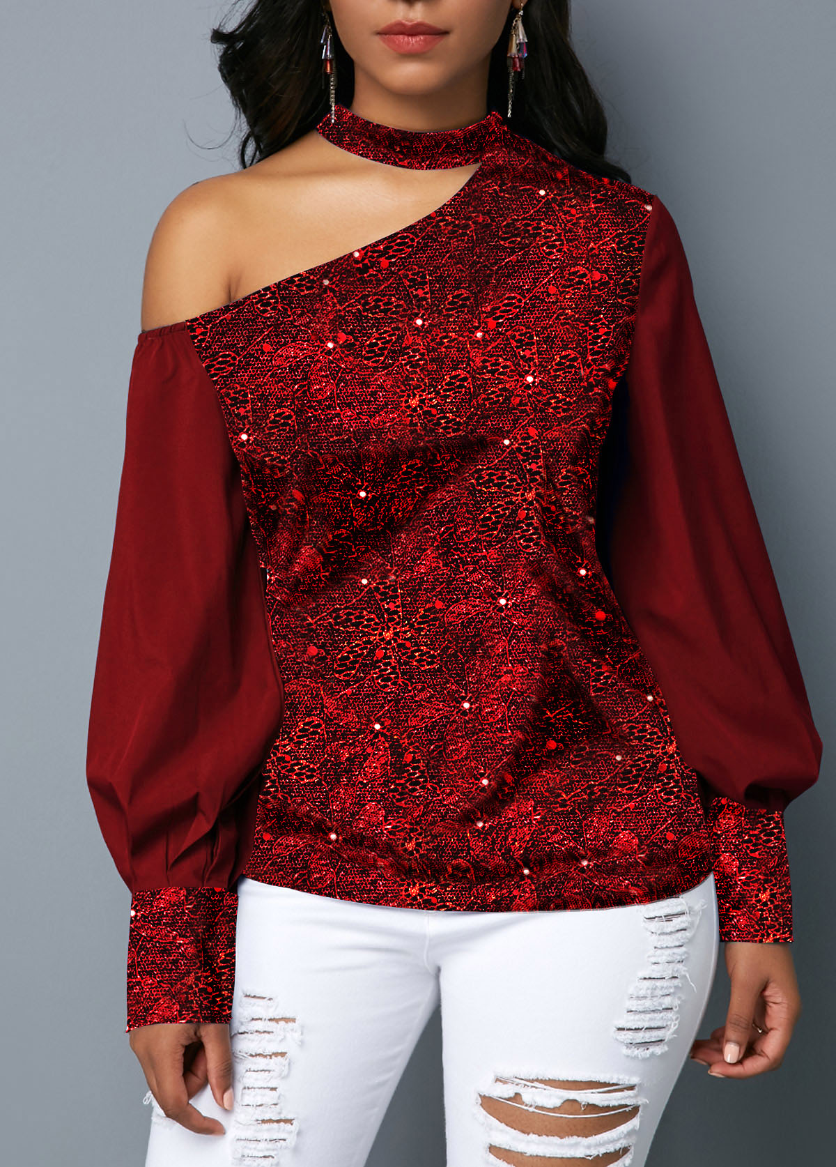 Cutout Shoulder Sequin Embellished Wine Red Blouse