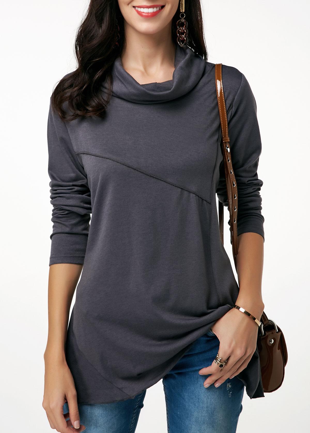 Long Sleeve Cowl Neck Dark Grey Tunic T Shirt