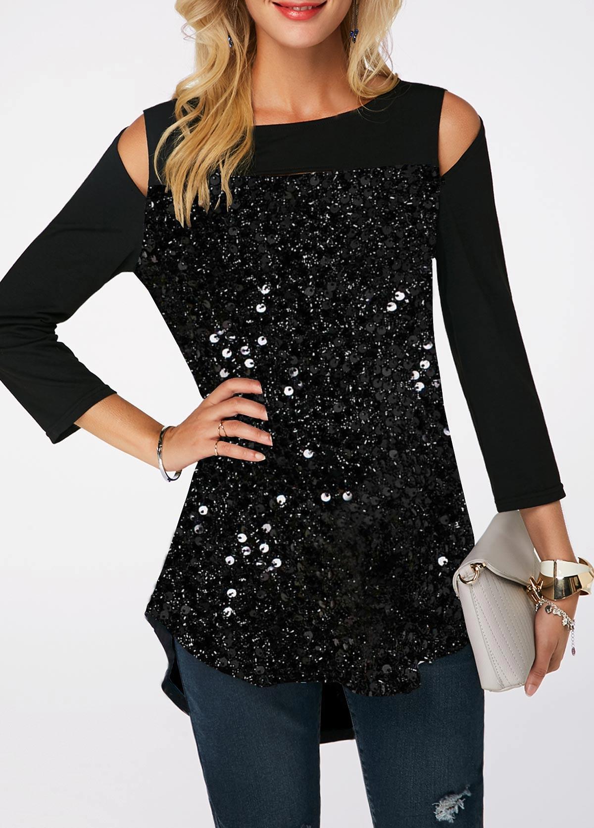 Black Curved Hem Sequin Embellished Cold Shoulder T Shirt