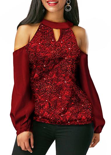 Cold Shoulder Wine Red Keyhole Neckline Shining Blouse