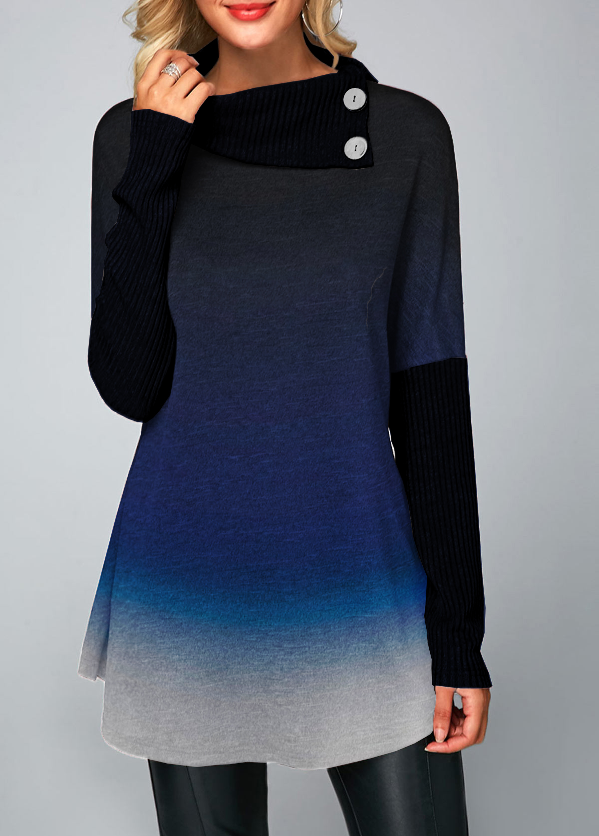 Button Embellished Long Sleeve Ombre T Shirt