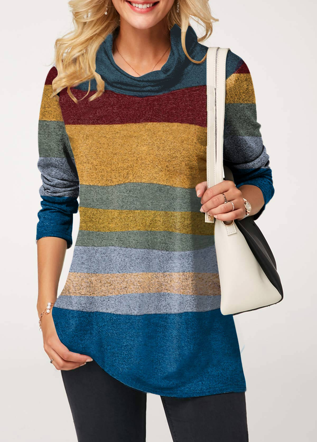 Long Sleeve Cowl Neck Color Block T Shirt