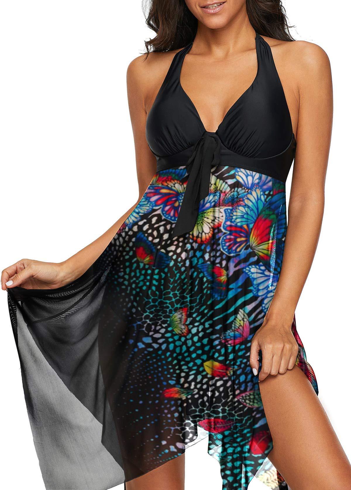 Halter Printed Asymmetric Hem Black Swimdress and Panty