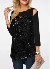 3646d98048f54 ... wholesale Black Curved Hem Sequin Embellished Cold Shoulder T Shirt