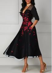 V Neck Flower Print Mesh Panel Black Dress