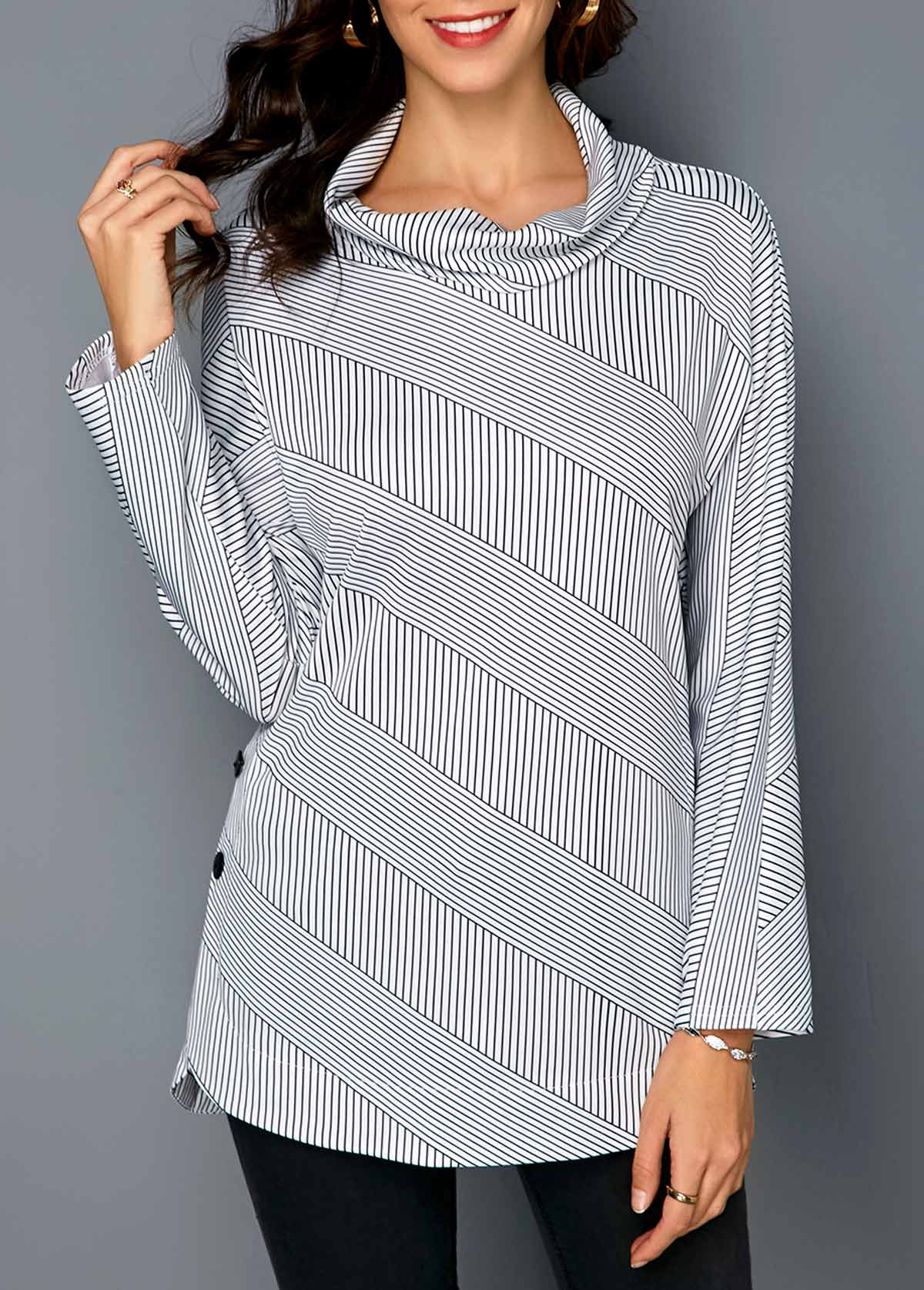 Striped Long Sleeve Cowl Neck T Shirt