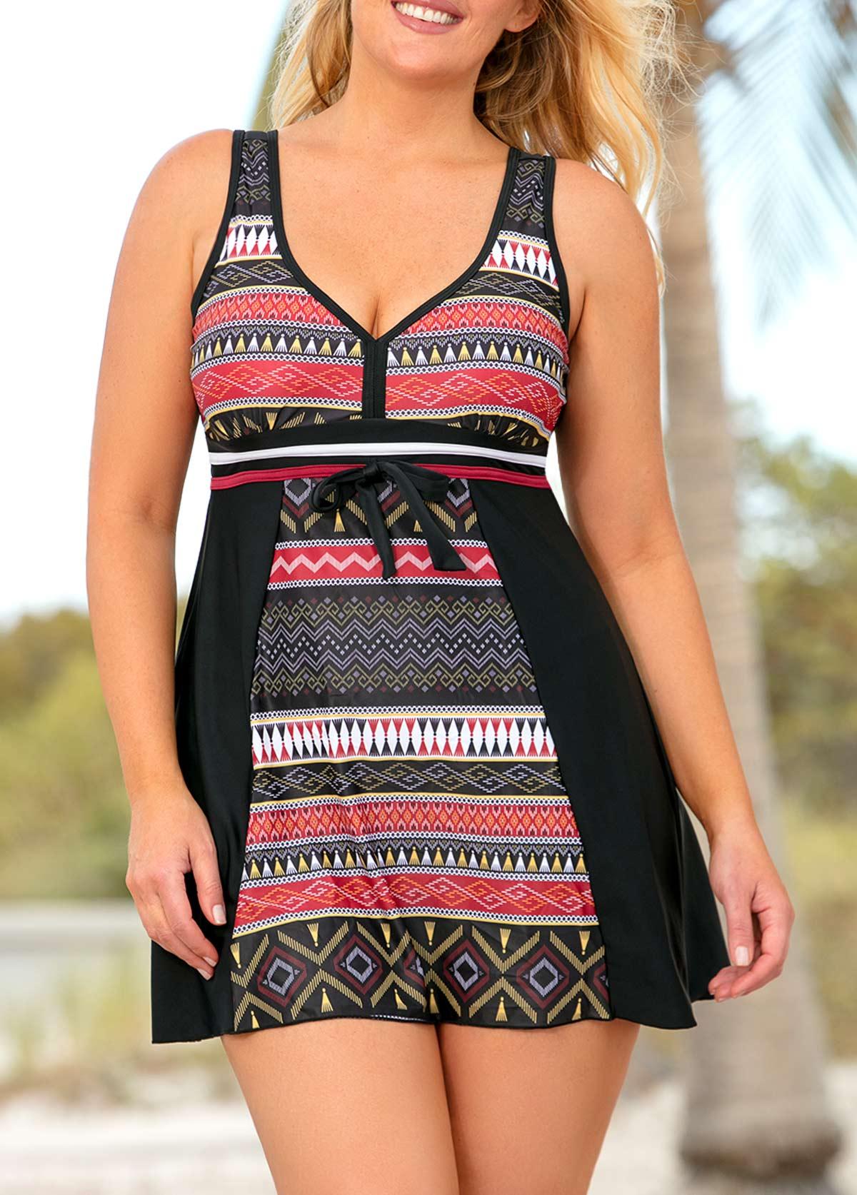 Plus Size V Neck Geometric Print Swimdress and Shorts