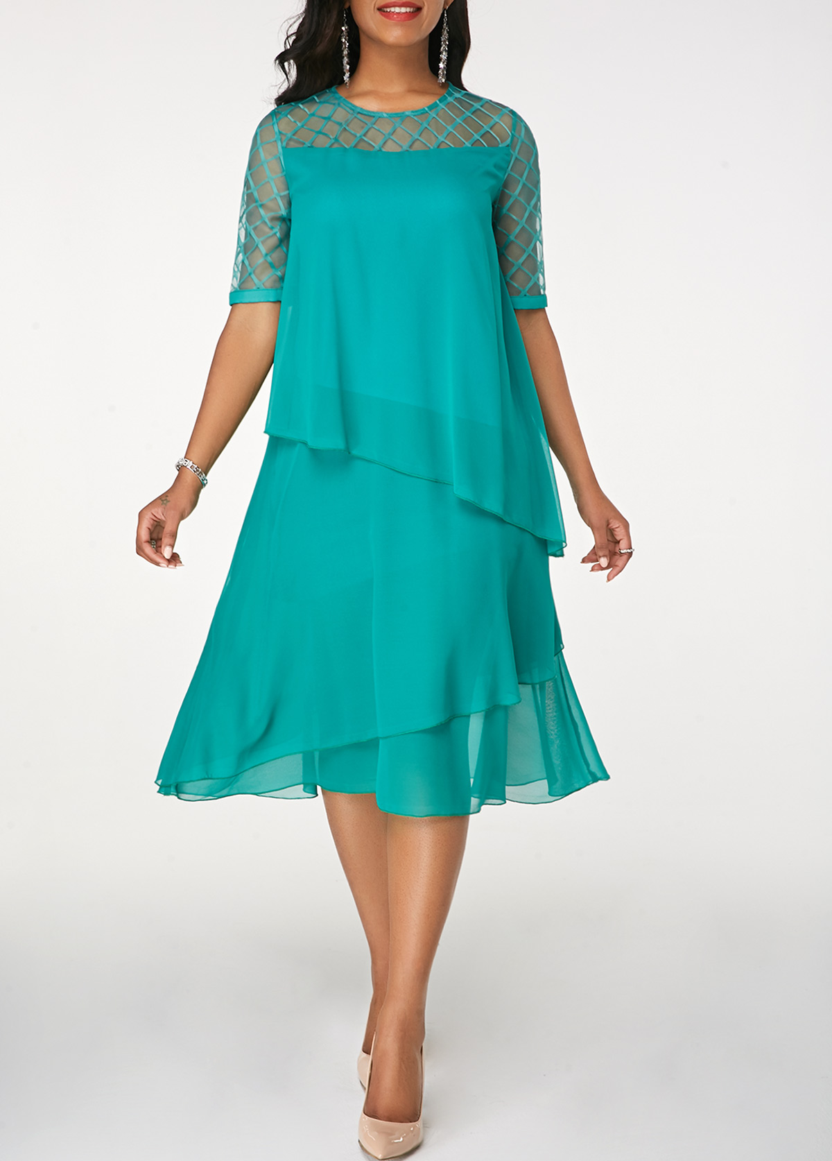 Round Neck Half Sleeve Chiffon Dress