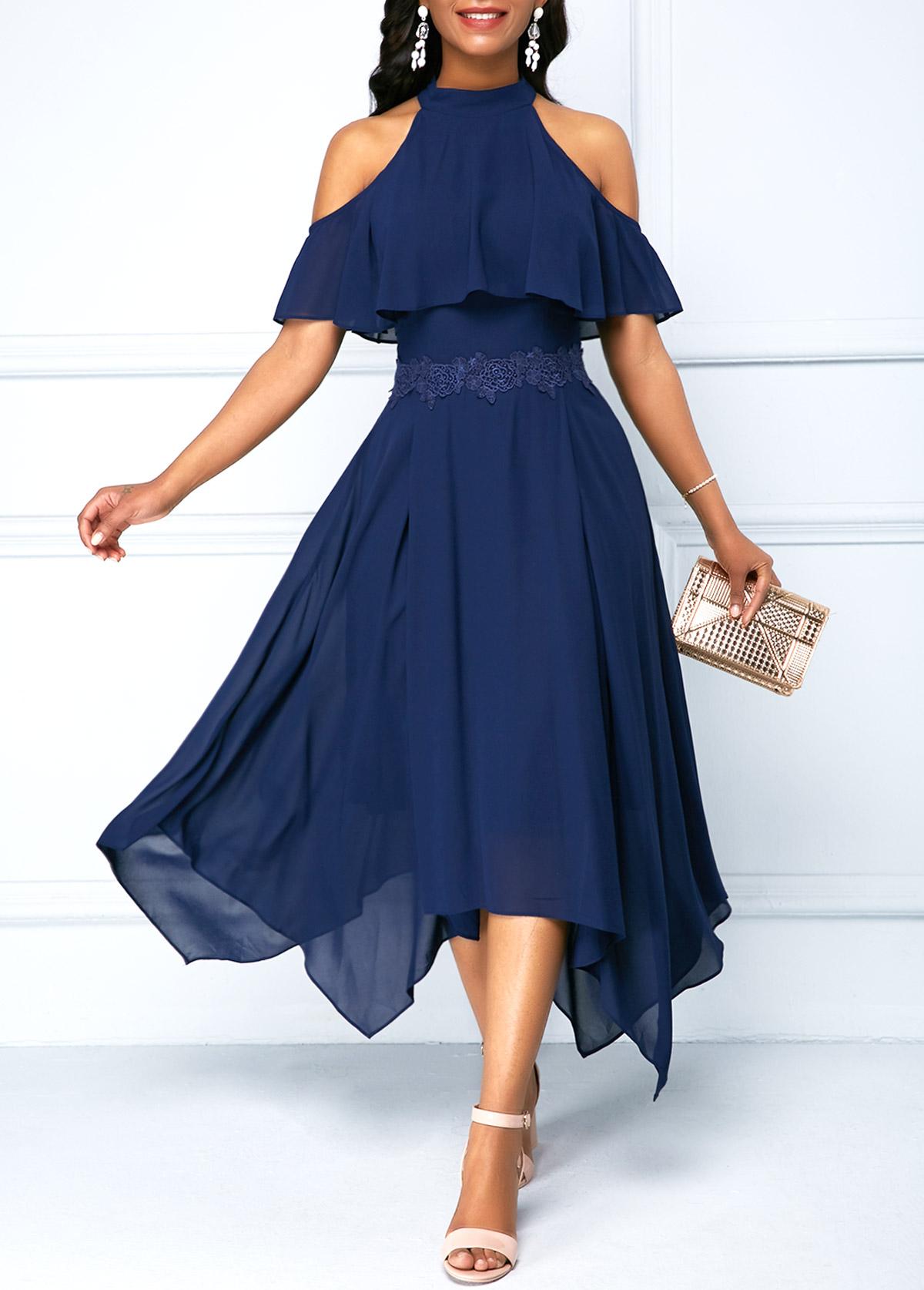 Overlay Embellished Asymmetric Hem Cold Shoulder Chiffon Dress