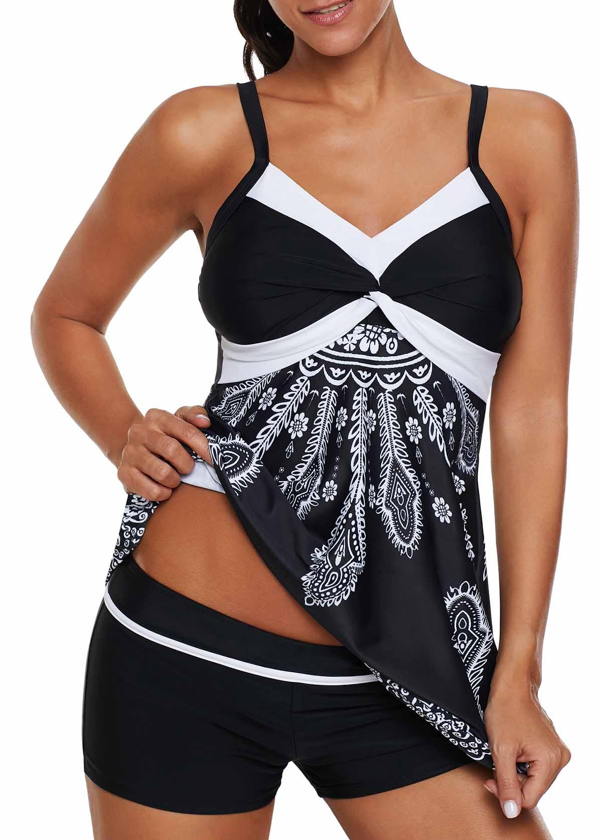 Spaghetti Strap Printed Black Swimdress and Shorts