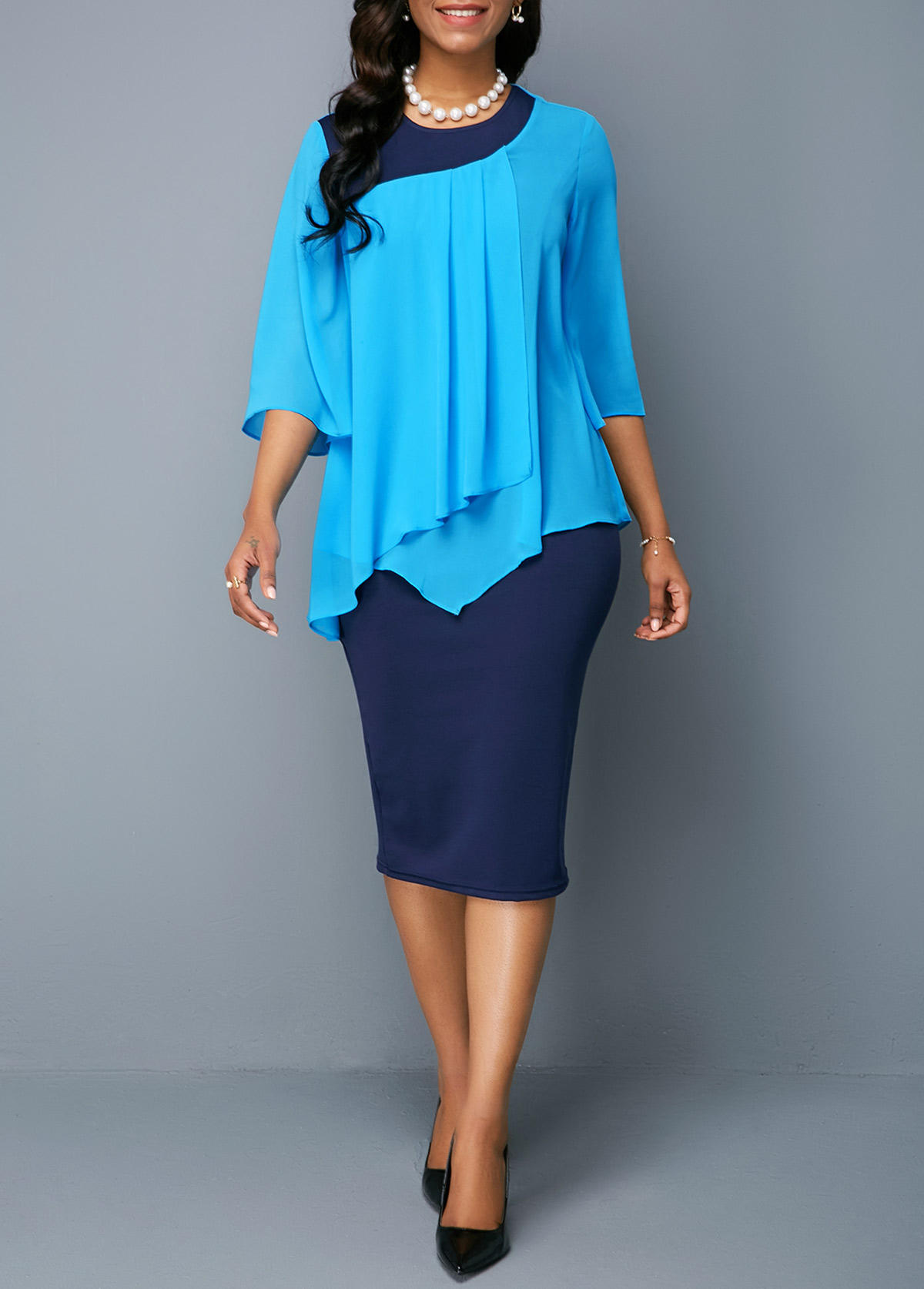 Three Quarter Sleeve Round Neck Top and Dress